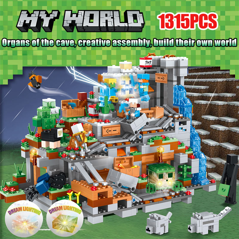 My World Building Blocks Compatible LegoINGLYS Minecrafted Mini Mountain Cave Figures Module Bricks Toys For Children classic batman robin base cave rescue poisonous female figures weapom compatible legoinglys super hero building blocks gift