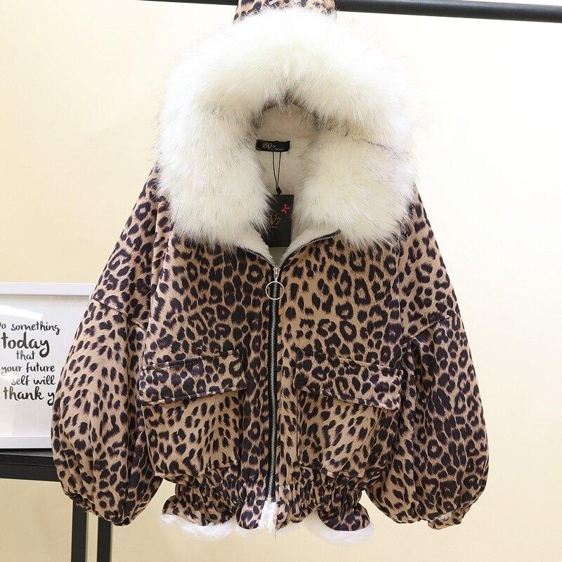 De Manteau Oversize Femmes Leopard Plus Velours Col Léopard Coton Winterwear light À Wih Chaud En Fourrure Rembourré Leopard Dark Capuchon Veste Imitation Épaissie qCxS5PwUp