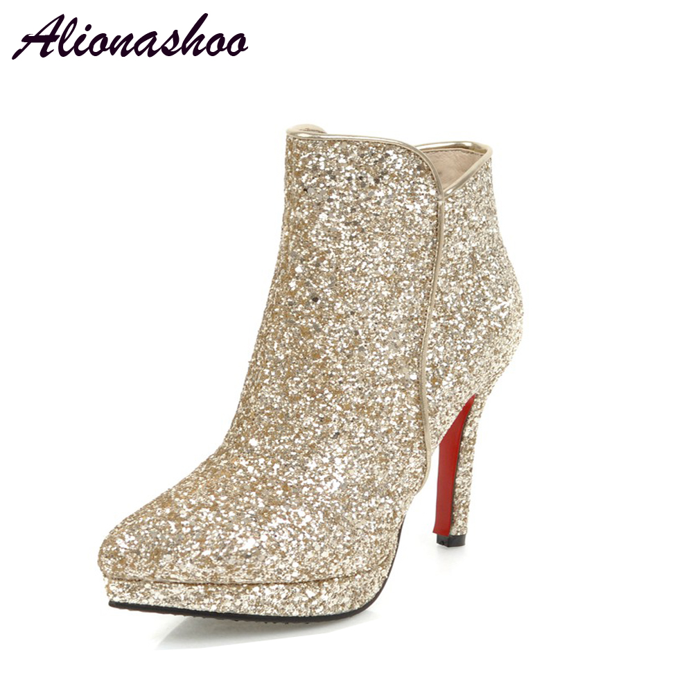 Alionashoo New Fashion Autumn Winter Womens Wedding Boots Zip Point Toe Thin High Heels Boots Gold Silver White Plus Size 34-48Alionashoo New Fashion Autumn Winter Womens Wedding Boots Zip Point Toe Thin High Heels Boots Gold Silver White Plus Size 34-48
