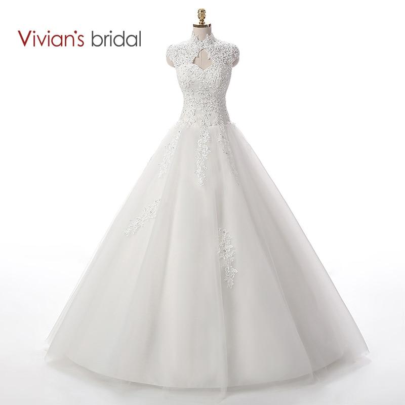 Vivian-jeva poročna obleka s črtastimi čipkami poročno obleko 2016 plevenje Tille Cap rokav z dolgimi poročnimi oblekami WD3312
