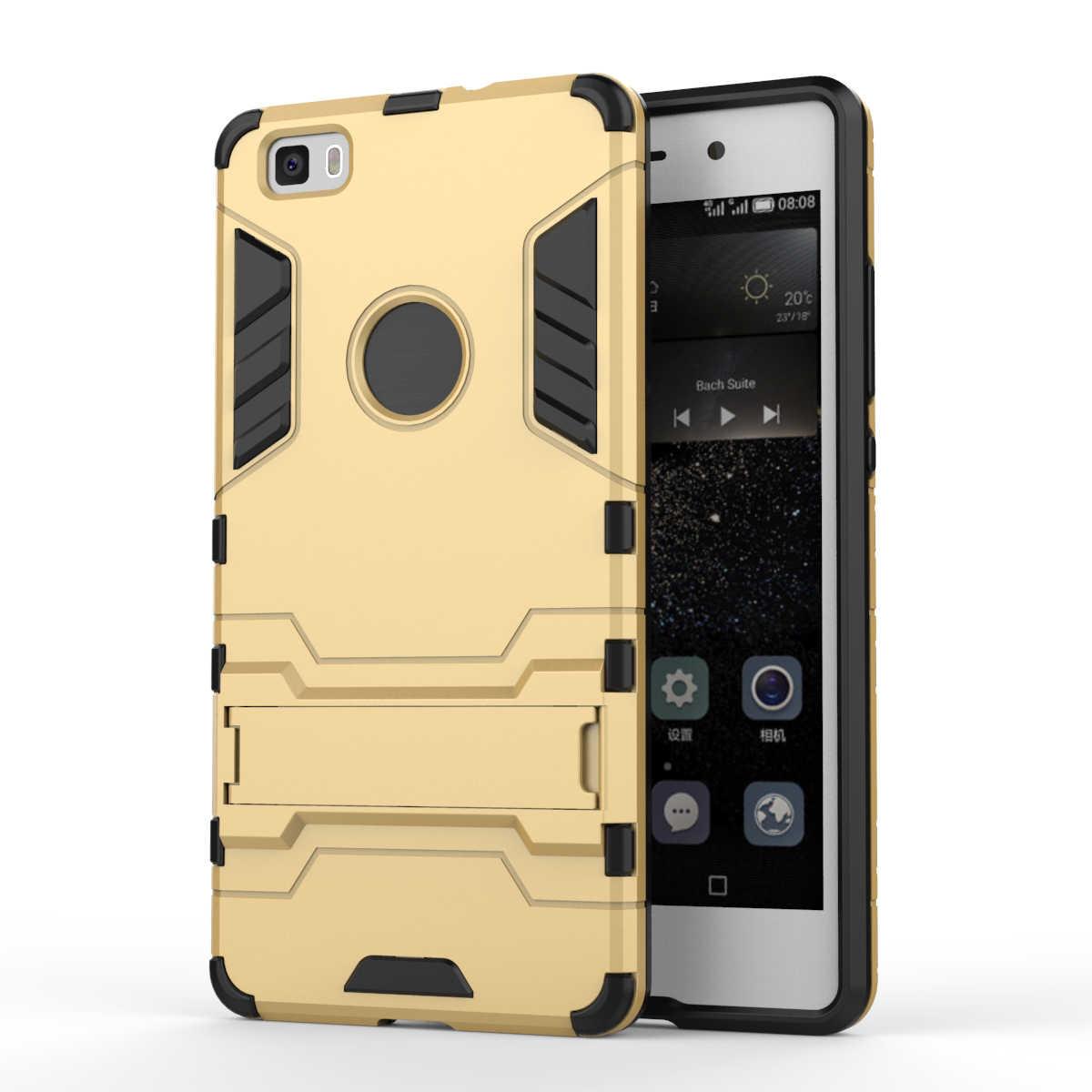 Armatura di Caso Per Huawei P8 Lite Heavy Duty Hybrid Hard morbido Robusta Gomma di Silicone Caso Della Copertura Del Telefono Coque con il Basamento funzione (<