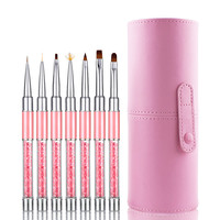 Professional Beauty Nail Brush 7pcs Nail Art Tips UV Gel Crystal Acrylic Painting Drawing Pen Polish Brush Pen Tool Nails Brush