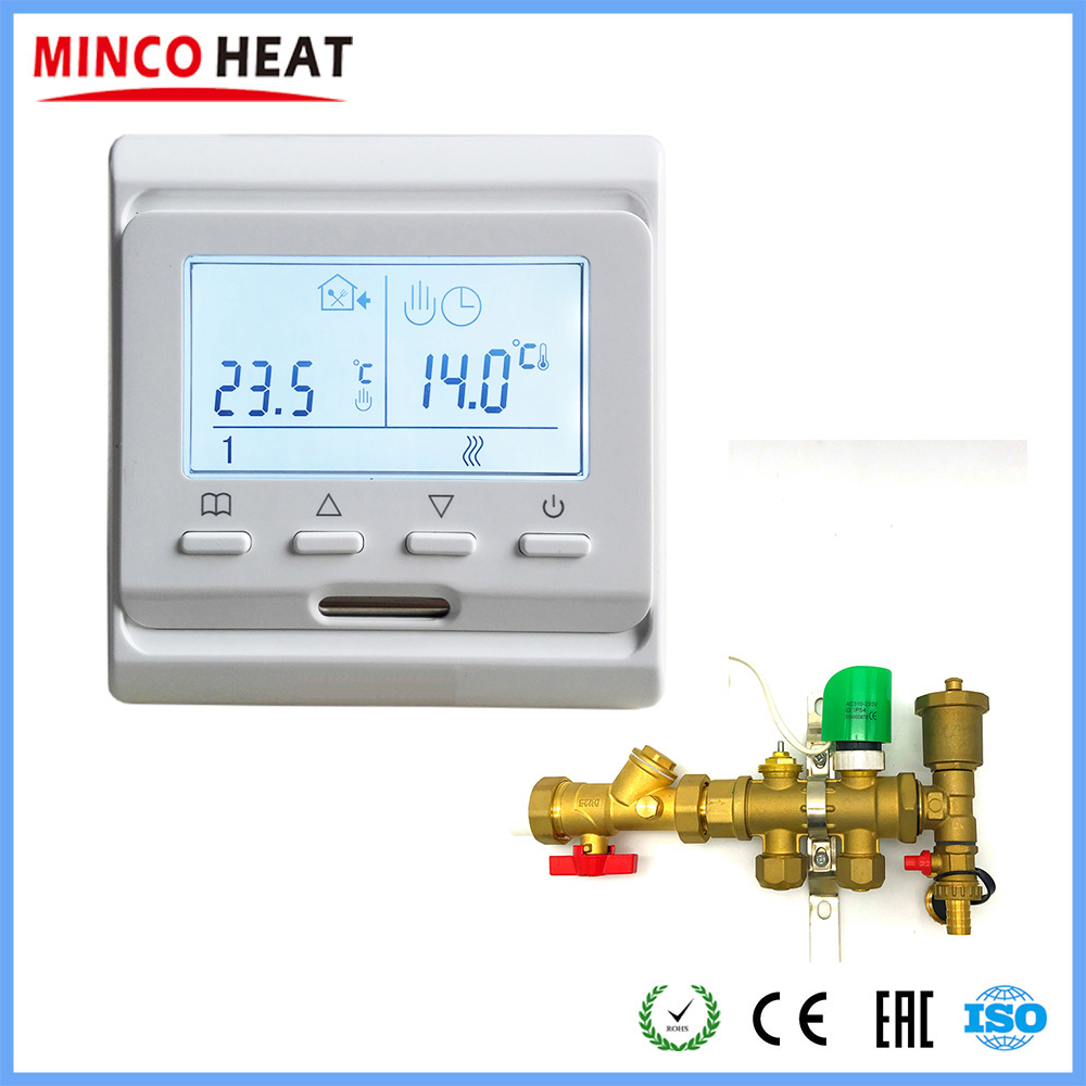 MINCO HEAT Underfloor Heating Thermostat Normal Closed Amd Open Actuator 5+2 Programmable Digital Temperature Controller 3A 220V