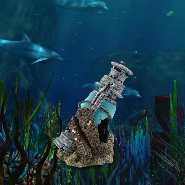 Aquarium Fish Tank Lantern Wreckage Landscape Decoration 1
