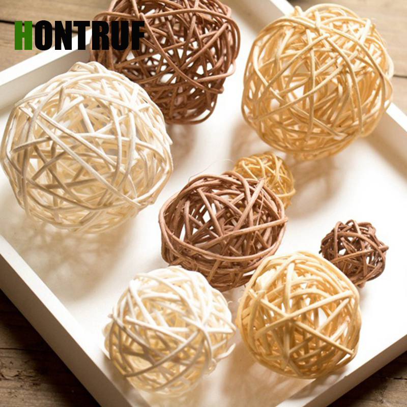 10Pieces Rattan Grass Hand-woven Pet Toy Hamster Rabbit Natural Toy Rattan Ball  Bird Chewing Grind Toys Birdcage Decor