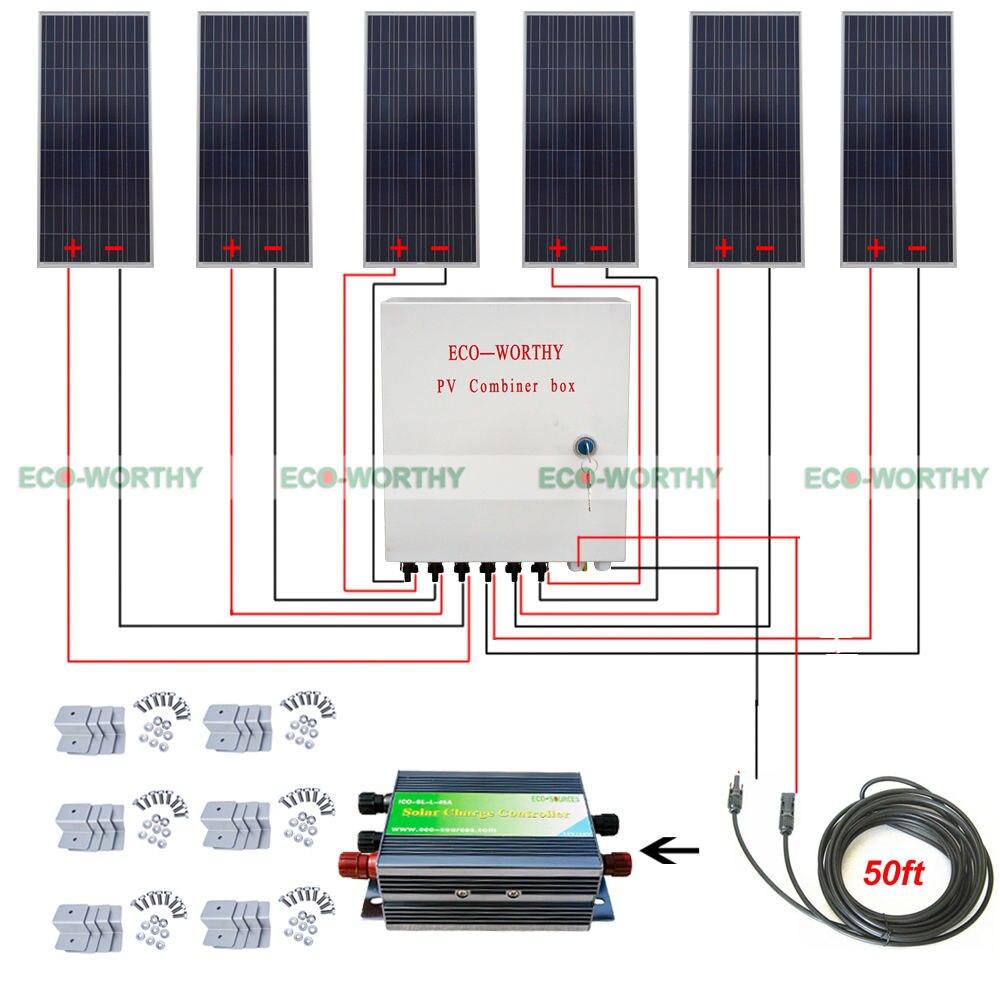 6pcs 150W 12V Off Grid 900W Solar System W/ 45A Controller 6 String Combiner Box Solar Generators