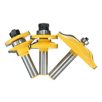 High Quality 3Pcs Yellow 1 2 Shank Two Flute Raised Panel Cabinet Door Router Bit Set