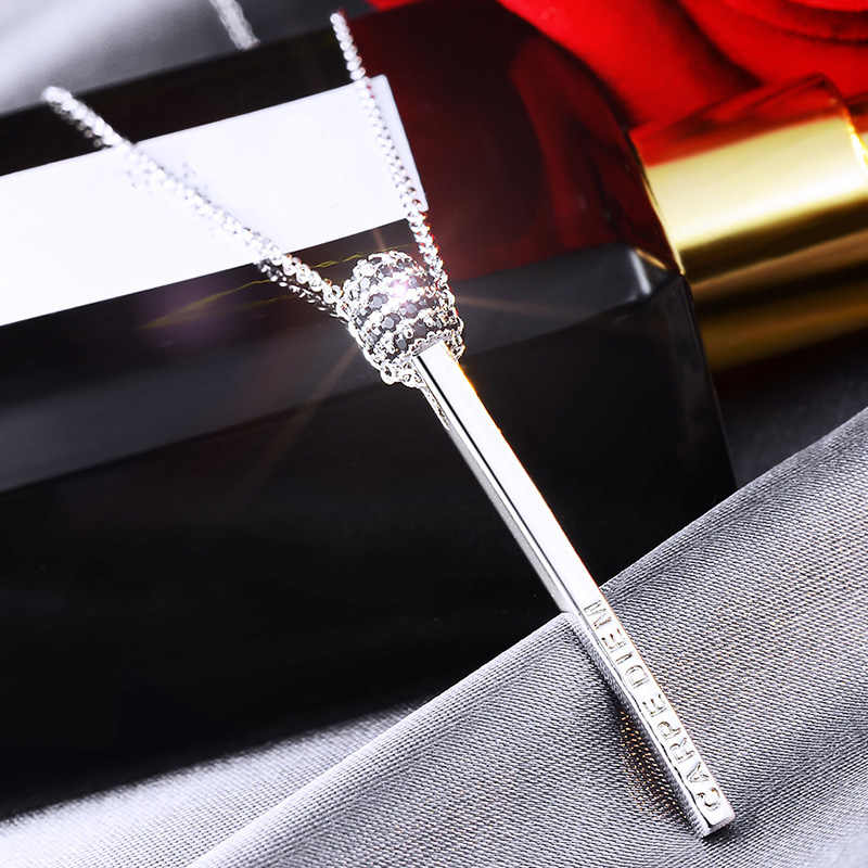 Fashion Women Jewelry Three-dimensional Matchstick Pendants Necklace for Women Long Chain Zircon Silver Stick Pendant Necklaces