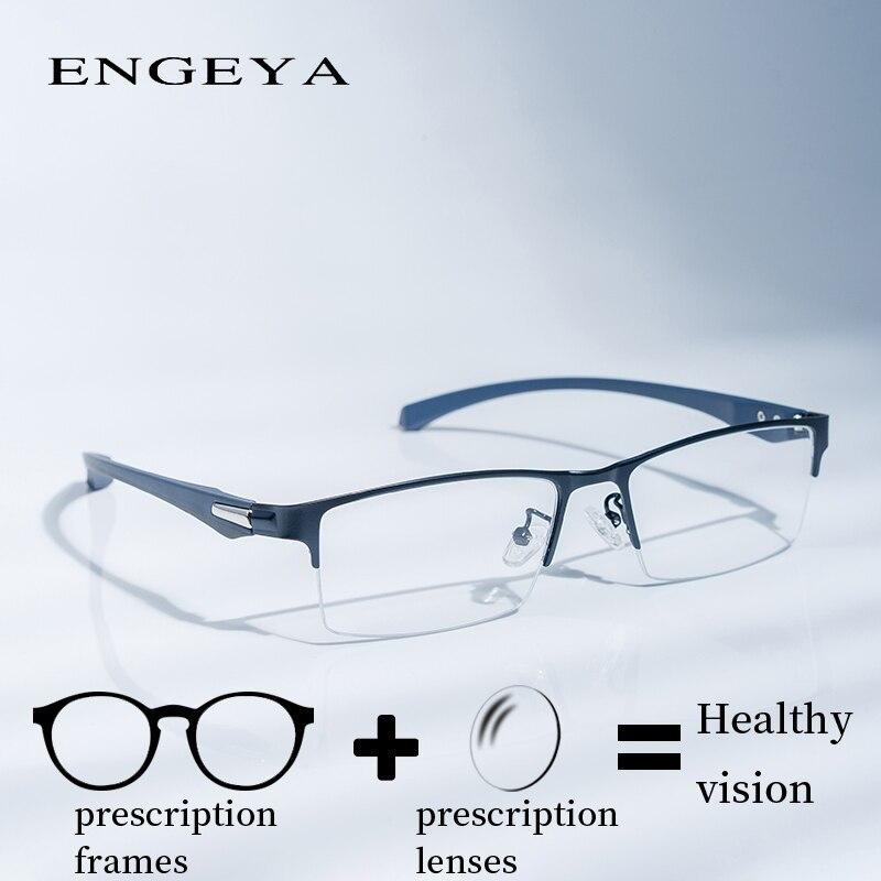 Сплав Frame Мужчины ясно Половина очки Модные прозрачные оптический рецепт очки для компьютера Мода Бизнес # IP66072
