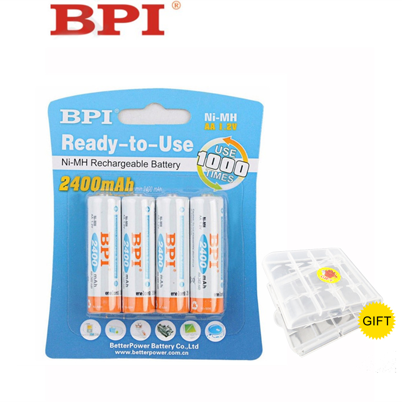 100 Genuine Authentic Card Installed BPI AA NiMH Rechargeable Battery 2400mAh 2A Baterias for Camera