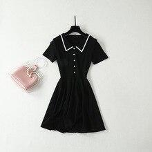 2019 summer elegant vintage black dress France style lapel  A-line Chic OL A398