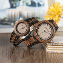 BOBO BIRD Wood Watch Men Women Quartz Wristwatches Zebra Wood Craft Top Brand kol saati in Wooden Gift Box