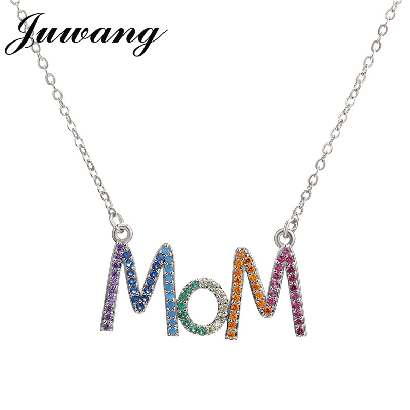 JUWANG multicolore mode 'MOM' breloque or pendentif collier Micro pavé Zircon lettre initiale colliers Couple nom collier 3