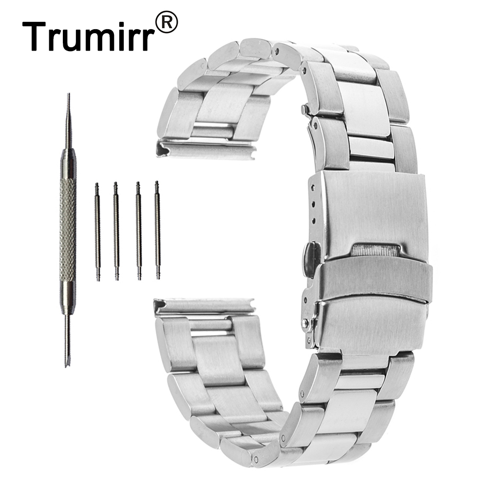 18mm 20mm 22mm 24mm Stainless Steel Watch Band for Fossil Watchband Safety Buckle Strap Wrist Belt Bracelet Black Silver цена