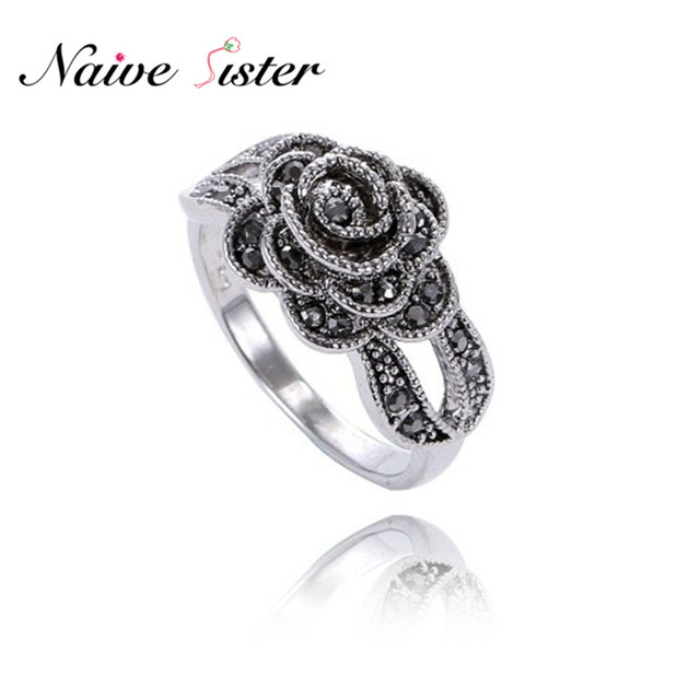 Fashion Black Flower Ladies Rings Rose Shape Ring For Women Hollow Design  Wedding Jewelry Rhinestone Antique Silver Plated 53b346a21710