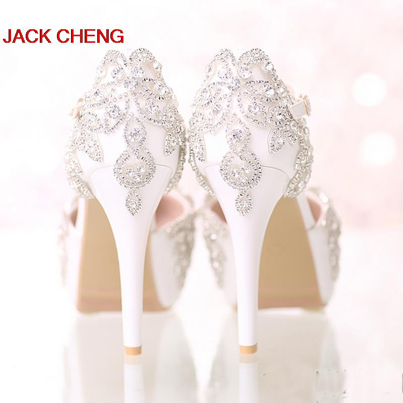 Round Toe Crystal Rhinestone Bride Shoes Platform Formal Dress Shoes White Bridal Wedding Dress Shoes with