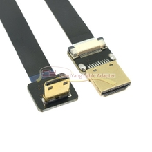20 cm/50 centímetros FPV 90 Graus Para Baixo Em Ângulo Mini HDMI Macho para HDMI Macho Cabo FPC Plana para multicopter Fotografia Aérea
