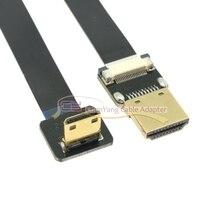 20 cm/50 cm FPV Mini HDMI macho 90 grados abajo en ángulo a HDMI macho FPC Cable plano para fotografía aérea multicóptero