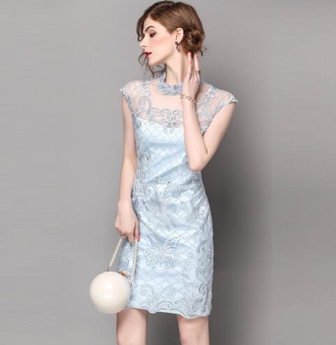 2017 Femmes D'été Manches Vintage Bleu Femme Sans D'une Pièce Robe Diamants Seule Robes rose Avec Parti Ethnique Style drPdWgZv