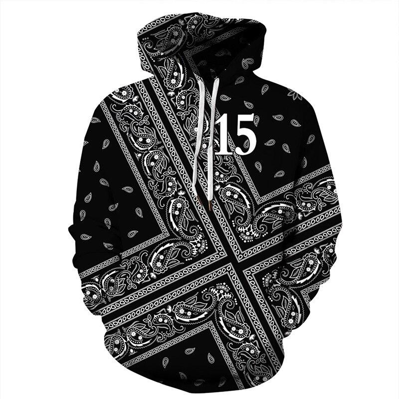 Cross Mandala Flower Print Hoodies Men Hoodie with Hat Round Neck Loose Sweatshirt Pullover Sudaderas Para Hombre Streetwear