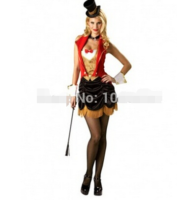 free shipping Sexy Circus Ringmaster Lion Tamer New Fancy Dress Costume Ladies S M L XL 2XL