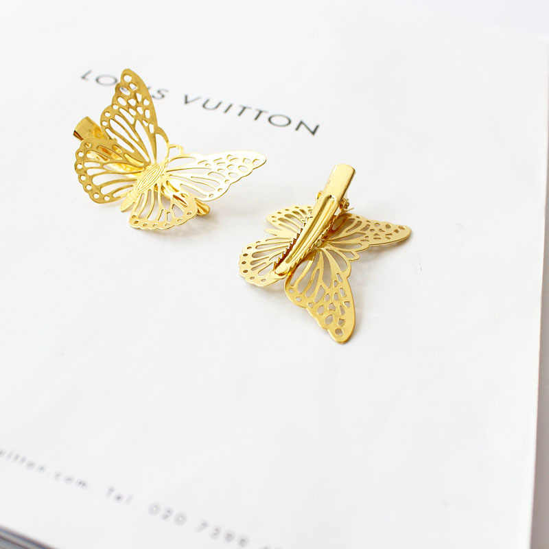 (1 sztuk) moda dziewczyny nakrycia głowy błyszczące metalowe złote włosy motyl klipy szpilka Barrette kobiety akcesoria do włosów chluba biżuteria