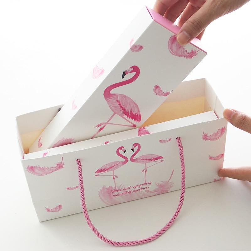 Gift box set gift bag+gift card+shredded paper Flamingo birthday holiday baby