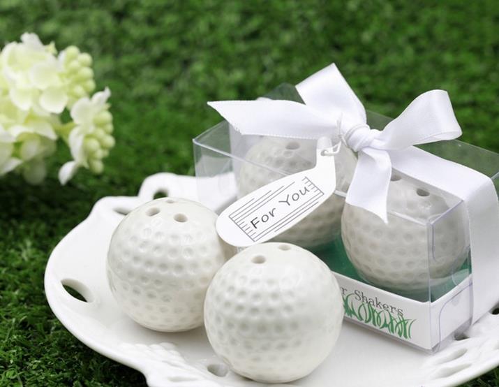 Wedding Favors White Golf Ball Salt and Pepper Shakers Bridal Shower Favor and Gift for Men 100pcs=50box