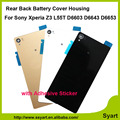 Black white Gold High quanlity New Back Housing Battery Door Glass Cover With Adhesive For Sony  Xperia Z3 L55 L55w D6603 D6653