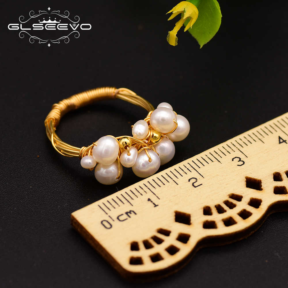 GLSEEVO ธรรมชาติ Fresh Water Baroque White Pearl แหวน Handmade Vintage บุคลิกภาพแหวนเครื่องประดับ GR0193