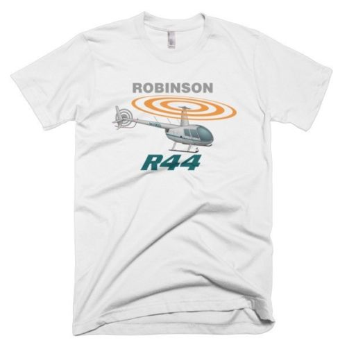 100% Cotton Print Mens Summer O-Neck Robinson R44 (Silver) Helicopter T-shirt - Personalized Tee Shirt image