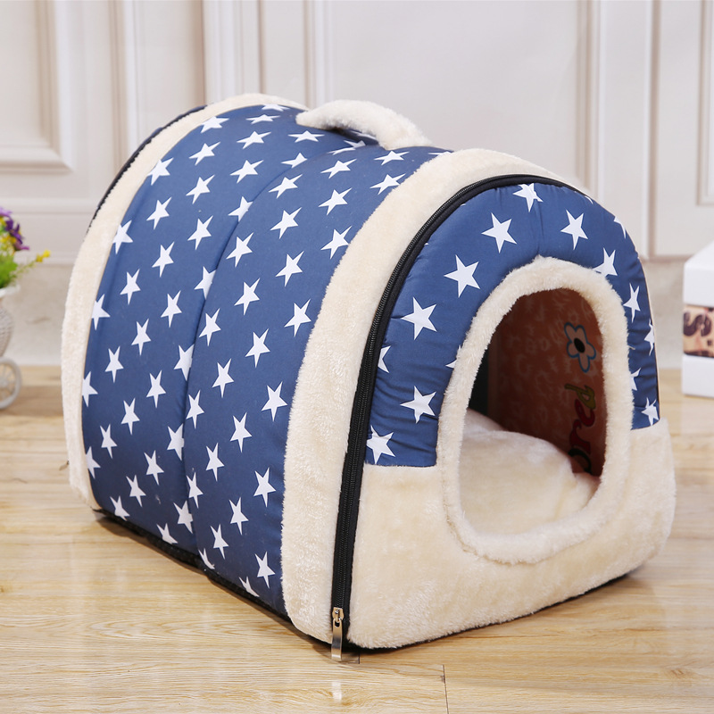 Hot Pet Dog House Nest With Mat Foldable Pet Dog Bed Cat Bed House For Small Medium Dogs Travel Kennels For Cats Pet Products