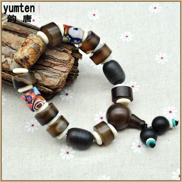 Yumten Natural Emerald Stones Pulseras Bracelet Jonc Armbanden Amber Beads Charms Bangles String Men Jewelry Gift For Friend