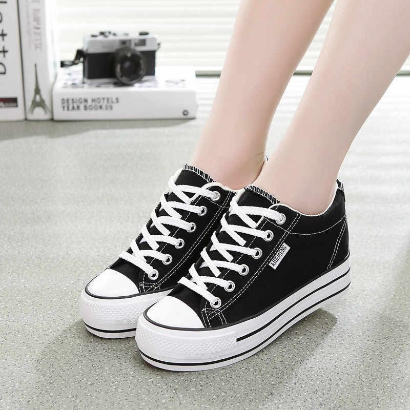 ผู้หญิงรองเท้าผ้าใบ Breathable แพลตฟอร์มที่เพิ่มขึ้นรองเท้าสบายๆรองเท้าสบายรองเท้าผ้าใบสีขาวรองเท้าผู้หญิง Vulcanize รองเท้า