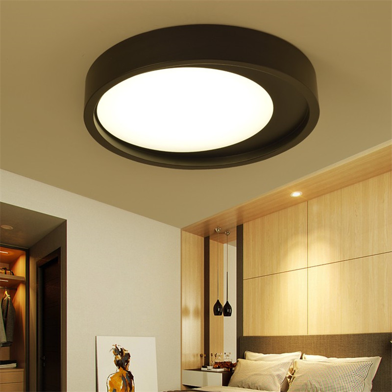 White Black Metal Acrylic Ceiling Light LED Round Lamp Surface Mounted Ceiling Light Fixture for living room bedroom kitchen round thin iron acrylic geometry ceiling light fixture surface mounted modern simple plafon lamp for hallway bedroom living room