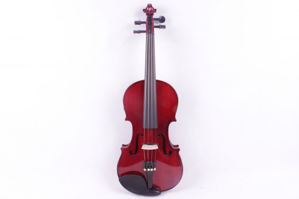 4-String 4/4 New Electric Acoustic Violin dark red  color   #1-2541# one red 4 string 4 4 violin electric violin acoustic violin maple wood spruce wood big jack color