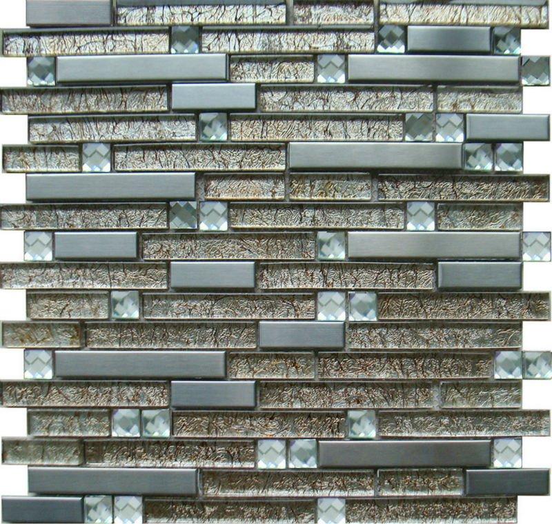 stainless steel tile backsplash crystal glass diamond mosaic