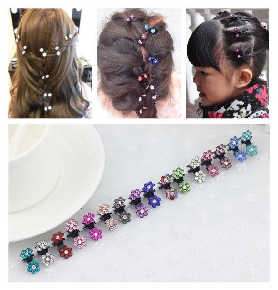 4pcs/lot  6 PETALs Mini Hair Claws with Colorful Crystal girl women hair accessories