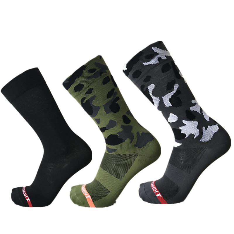 Sports Outdoor Camouflage Cycling Socks Men Cross-country Mountain Compression Bike Socks Army Green Calcetines Ciclismo