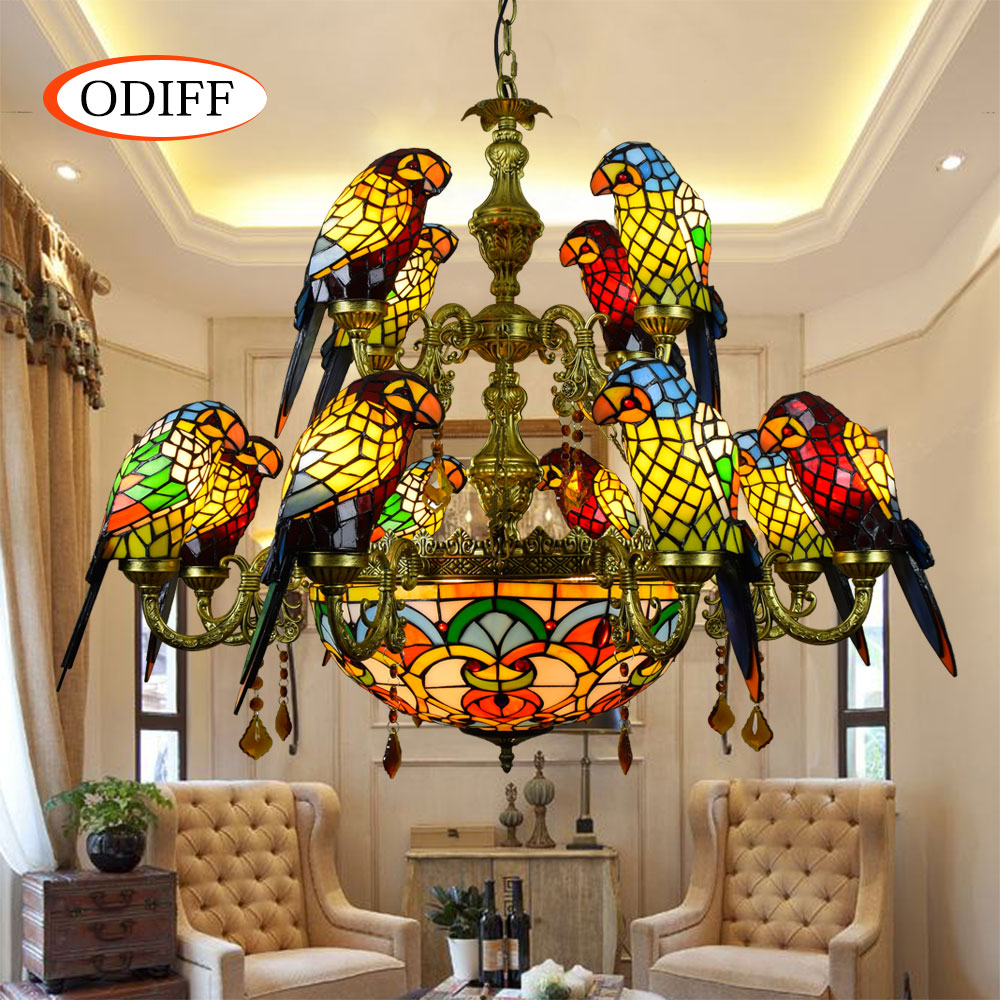 European Luxurious Parrot Double Deck Pendant Lamp Stained