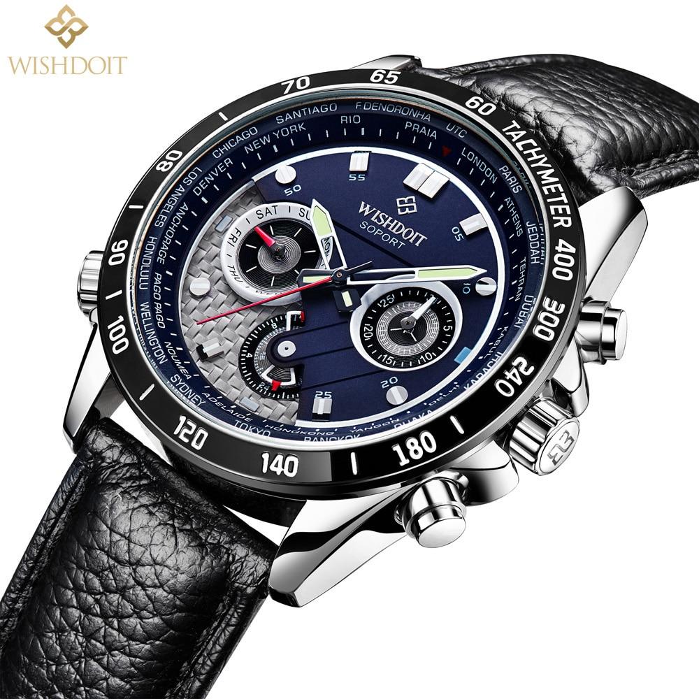 ФОТО 2017 new Brand design Men's watches men Business quartz watch men waterproof sports leather strap real three dials black