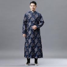 Hanfu male Vintage Qipao gown stand collar vestido for men Chinese Traditional Tang Suit Long Robe oriental ethnic clothing