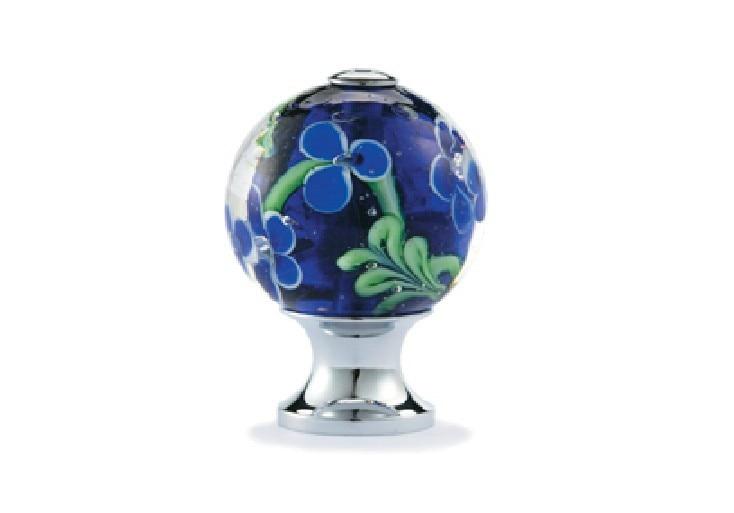 UNLOCKS 10Pcs Millefiori  Art Blue Flower Vaidurya Glass Cabinet Drawer Door Knobs(Diameter:25mm) css clear crystal glass cabinet drawer door knobs handles 30mm