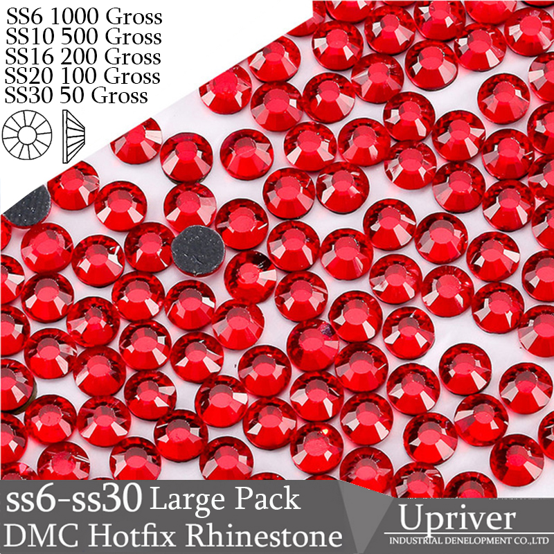 Upriver Wholesale Large Pack Bulk Packing Glass SS6 SS10 SS16 SS20 SS30 Siam Hotfix Rhinestones