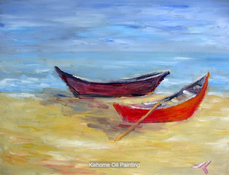 Marine sea boat by thick palette knife texture oil for Fishing boat painting