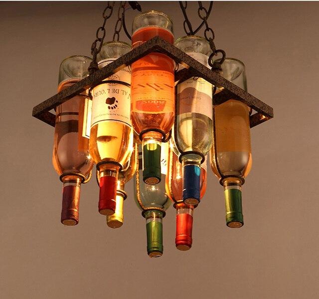Creative Wine Bottle Pendant Lights Bar Table Lighting Deco Art Droplight Suspension Glass