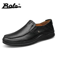 BOLE 37 46 Large Size Genuine Leather Shoes For Men Design Superstar Slip On Breathable Loafers