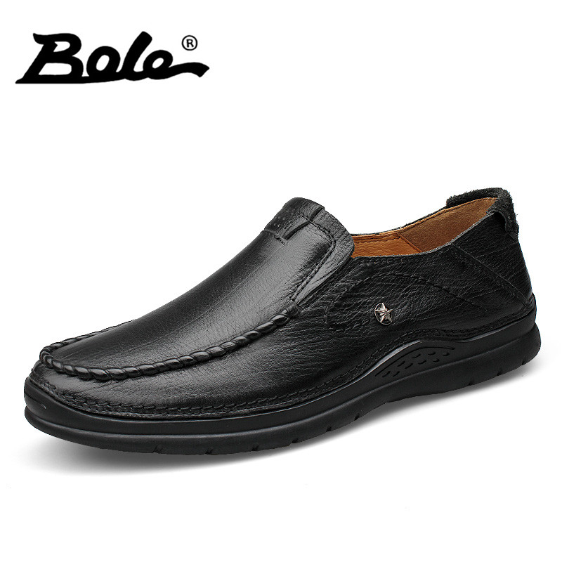 BOLE 37-46 Large Size Genuine Leather Shoes For Men Designer Slip on Breathable Driving Loafers Casual Shoes Men Flat Size 37-46 bole new handmade genuine leather men shoes designer slip on fashion men driving loafers men flats casual shoes large size 37 47
