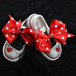 Image 5 - Dollbling zapatos de lona para niños, zapatillas deportivas infantiles de punta de mano personalizada con lazo de encaje y diamantes, informales de lona baja