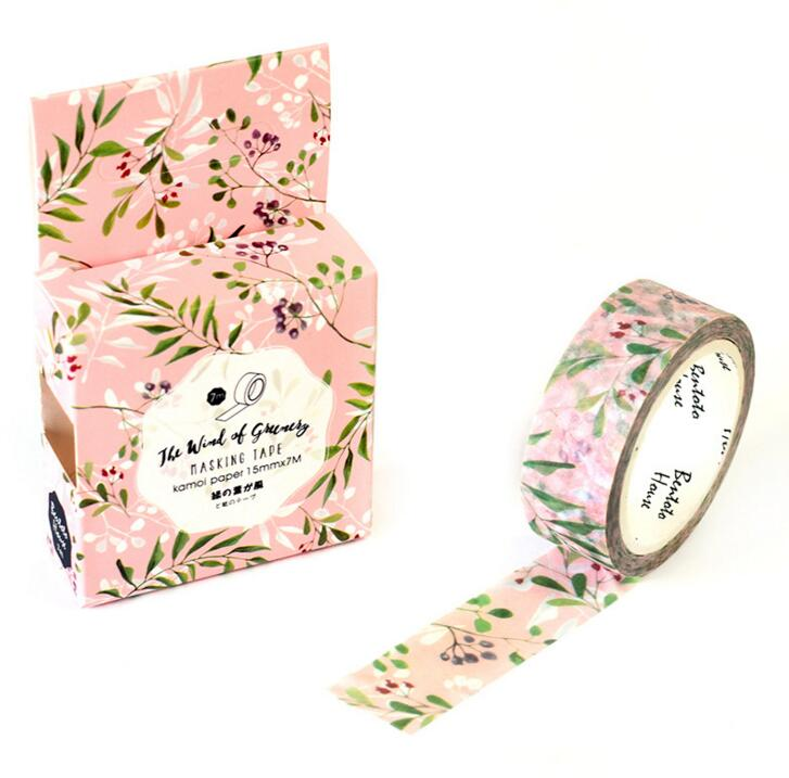 JA210 Fresh Green Leaves & Flowers Decorative Washi Tape DIY Scrapbooking Masking Tape School Office Supply Escolar Papelaria 1 5cm 5m star twigs gold silver washi tape diy scrapbooking masking tape school office supply escolar papelaria
